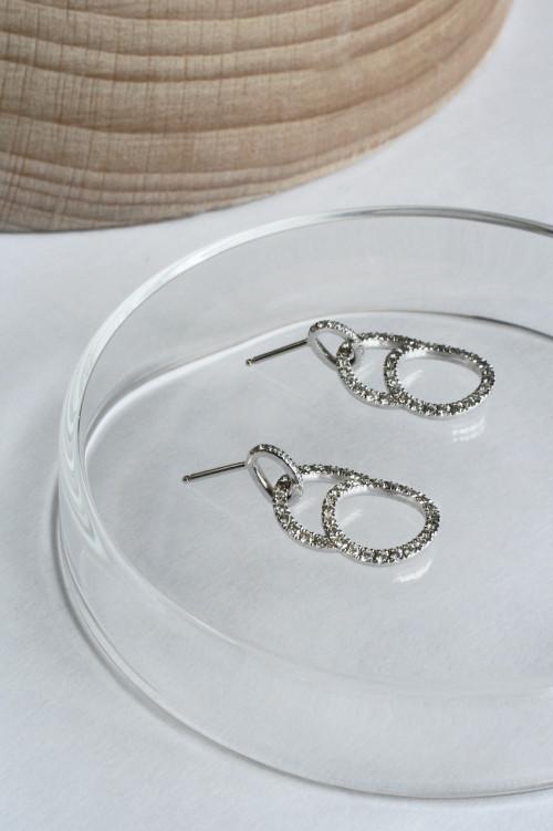 Boucles d'oreilles pendantes Céleste en or blanc recyclé et diamants de synthèse - Courbet
