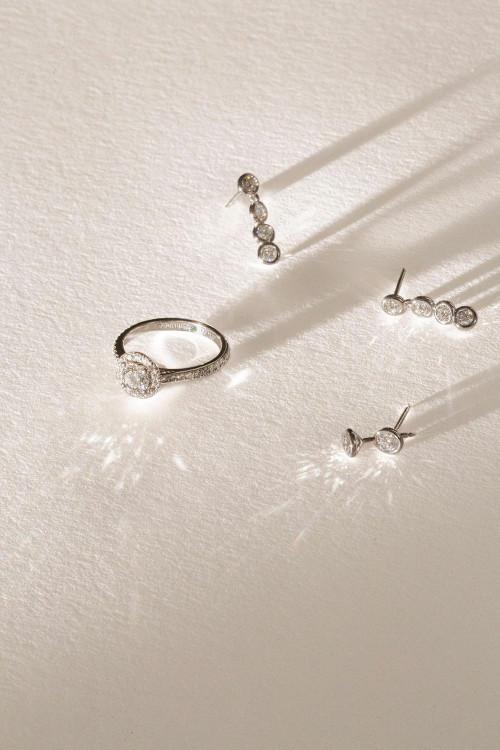 Boucles d'oreilles Parure or recyclé 18K et diamants de synthèse- Courbet