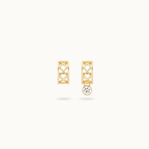 Boucles d'oreilles PONT DES ARTS or jaune 18K - diamant synthétique français - Courbet - Courbet