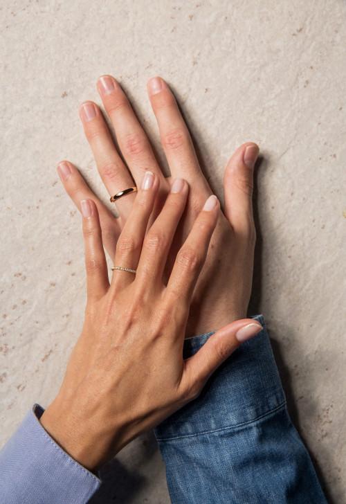 Alliances personnalisables - diamants de synthèse et or recyclé 18K - Courbet