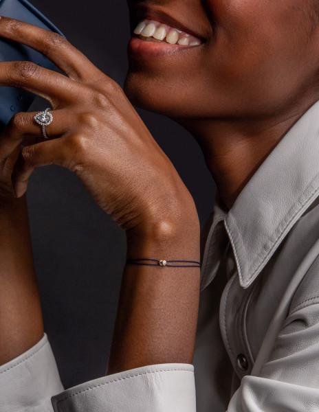 Bracelet cordon LET'S COMMIT bleu Courbet en or jaune - Face - Courbet
