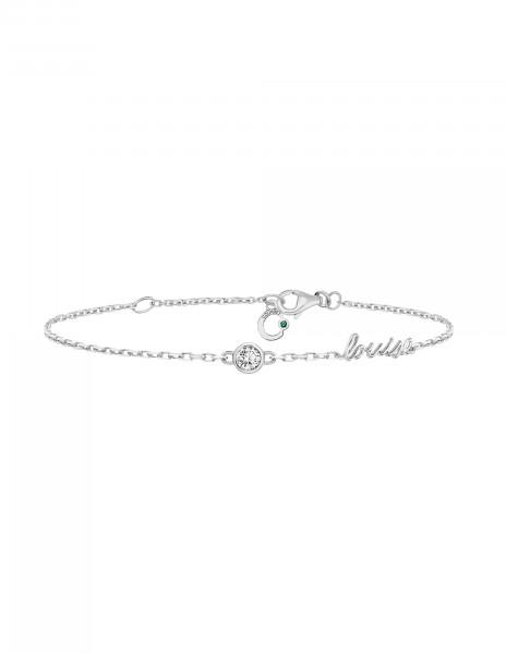 Bracelet chaîne ORIGINE 1 motif serti personnalisé en or blanc - Courbet - Courbet