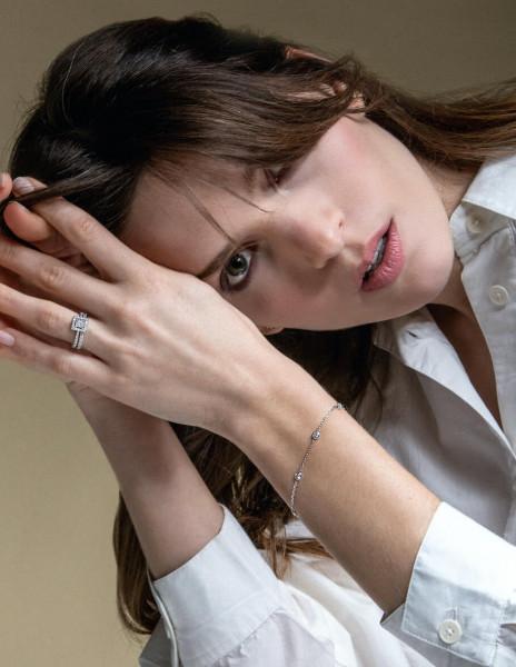 Bracelet Origine -Or blanc 18K (1,90 g), 3 diamants  0,30 carat - Courbet