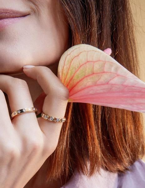 Bague Or Jaune et Diamants de synthèse 0,55 ct - CO - Courbet - Face - Courbet