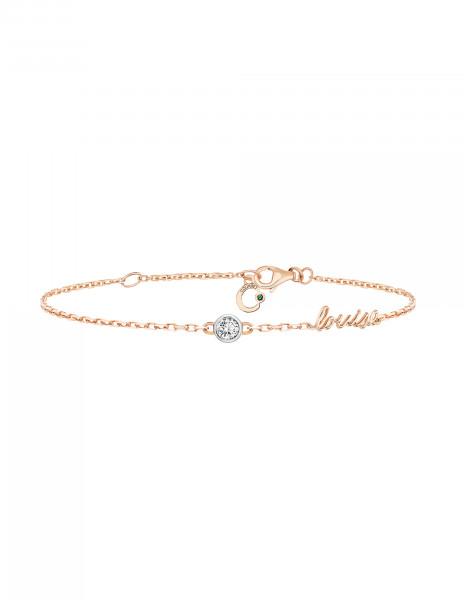 Bracelet chaîne ORIGINE 1 motif serti personnalisé en or rose - Courbet