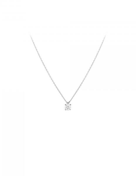 Collier quatre griffes - Or blanc 18K (2,00 g), diamant 0,20 ct - Courbet