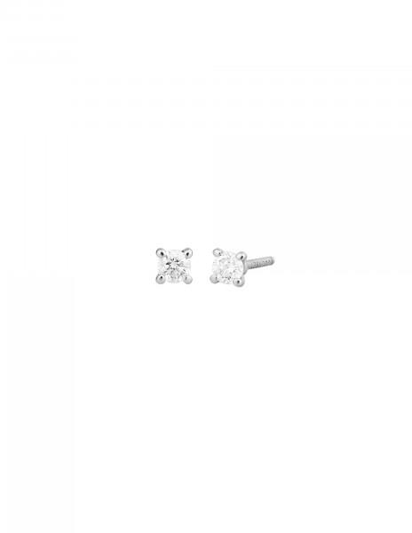 Boucles d'oreilles quatre griffes - Or blanc 18K (1,00 g), 2 diamants 0,20 ct - Courbet
