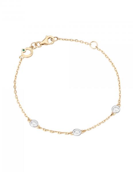 Bracelet Origine - Or jaune 18K (1,90 g), 3 diamants 0,30 carat - Courbet