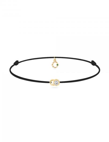 Bracelet cordon LET'S COMMIT noir carbone en or jaune - Face - Courbet