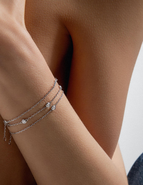 Bracelet chaîne ORIGINE 1 motif serti en or blanc 18K - Courbet - Courbet