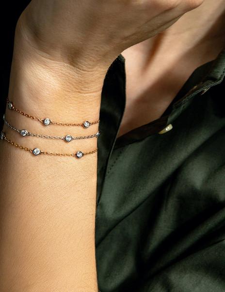 Bracelet Origine - Or jaune 18K (2,20 g), 5 diamants 0,50 carat - Courbet