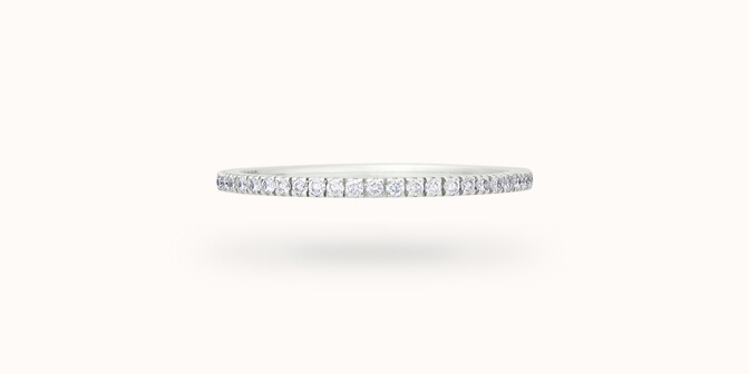 Alliance full-pavée (1 mm) - Or blanc 18K (1,00 g), diamants 0,30 ct - Face - Courbet