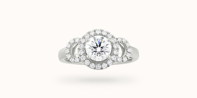 Bague Halo Courbet - Or blanc 18K (5,40 g), diamants 0.75 carat - Face - Courbet