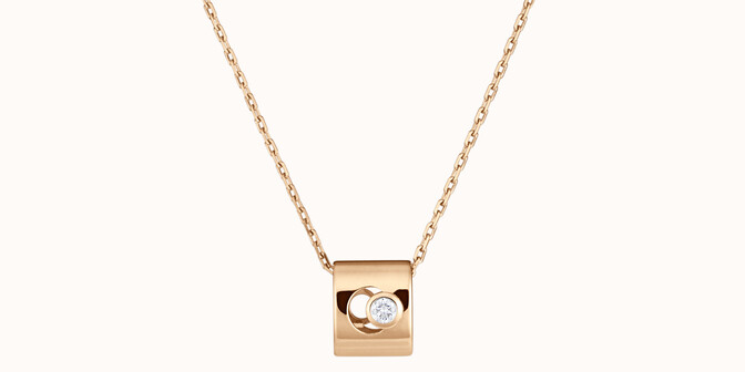 Collier Eclipse - Or jaune 18K (6,30 g), diamant 0,1 ct - Face - Courbet
