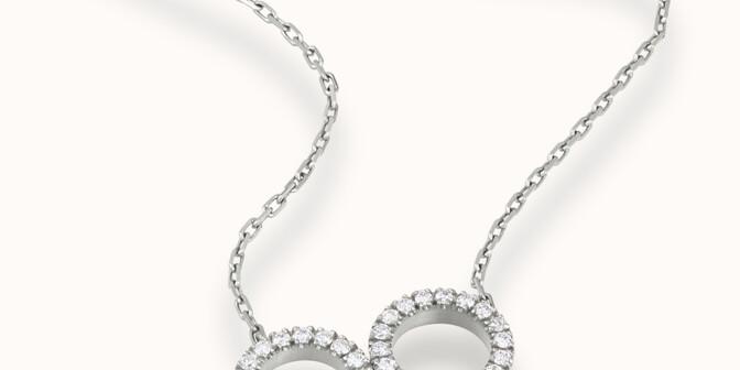 Collier - Or blanc 18K (4,90 g), diamants 0,36 cts - Mouvement - Courbet