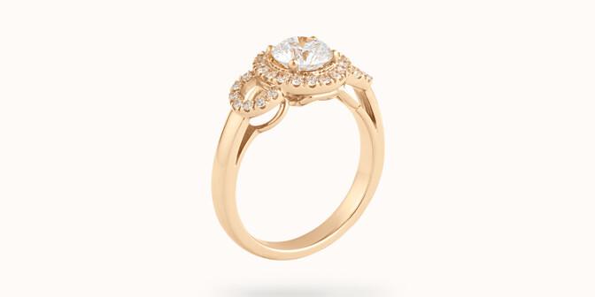Bague fiançailles Halo - Or jaune 18K (6,00 g), diamants 1,25 cts - Côté