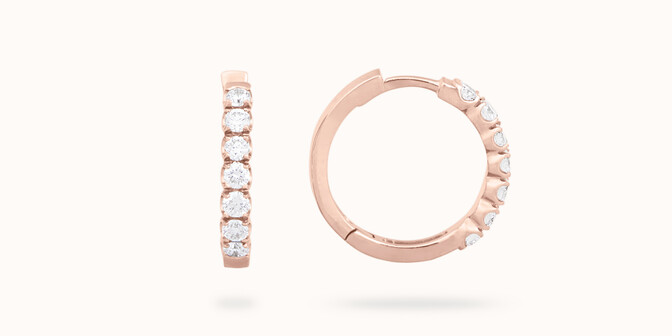 Créoles - Or rose 18K (4,20 g), diamants 0,7 cts - Courbet