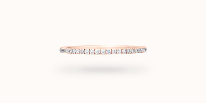 Alliance full-pavée (1 mm) - Or rose 18K (1,00 g), diamants 0,30 ct