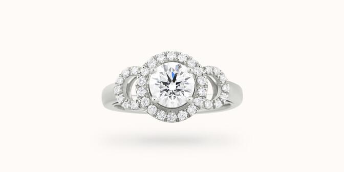 Bague fiançailles Halo - Or blanc 18K (6,00 g), diamants 1,25 cts - Face