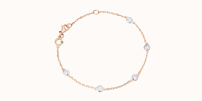 Bracelet Origine - Or rose 18K (2,20 g), 5 diamants 0,50 carat - Courbet