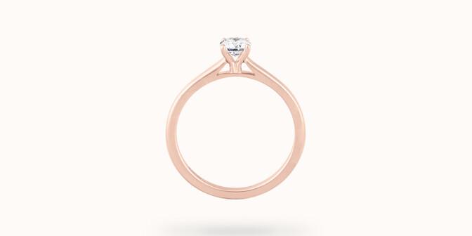 Solitaire quatre griffes - Or rose 18K (2,70 g, diamant 0,1 carat - Profil - Courbet