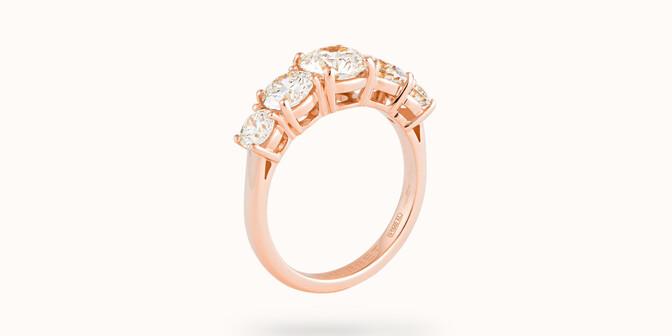 Bague solitaire Quintet - Or rose 18K (4,50 g), 5 diamants 1,20 cts - Côté