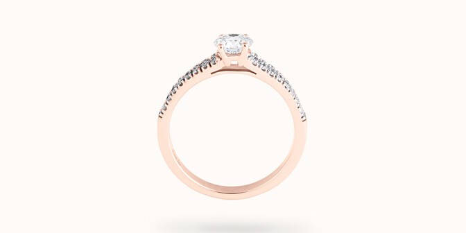 Bague fiançailles Infinity - Or rose 18K (3,50 g), diamants 0,75 ct - Profil - Courbet