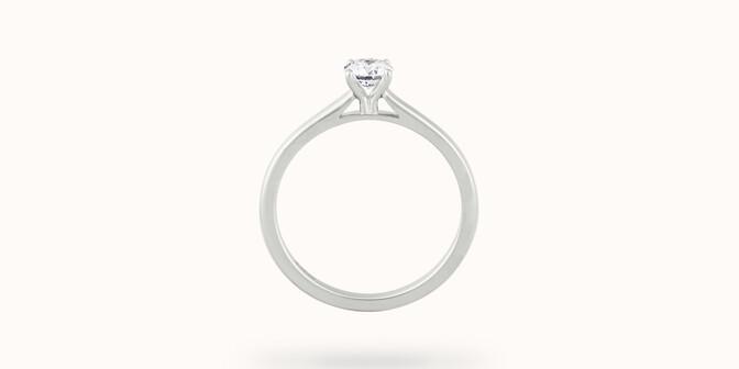 Solitaire quatre griffes - Or blanc 18K (2,70 g), diamant 0,1 carat - Profil - Courbet