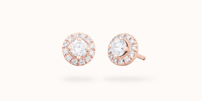 Boucles d'oreilles - Or rose 18K (2,50 g), diamants 0,55 carats