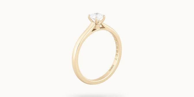 Solitaire quatre griffes - Or jaune 18K (2,70 g), diamant 0,1 carat - Côté - Courbet
