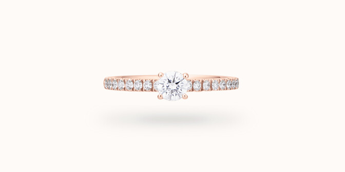 Solitaire quatre griffes - Or rose 18K (2,20 g), diamants 0,3 cts - Face