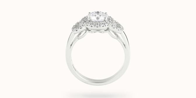 Bague fiançailles Halo - Or blanc 18K (6,00 g), diamants 1,25 cts - Profil