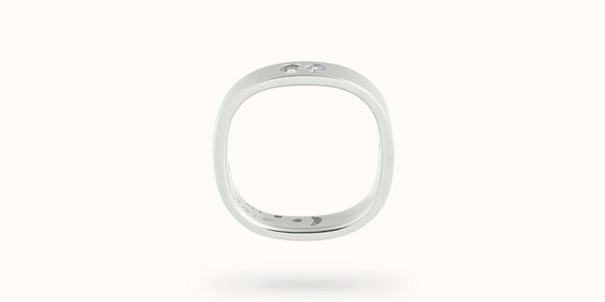 Bague Eclipse petit modèle - Or blanc 18K (4,20 g), 4 diamants 0,12 ct - Profil - Courbet