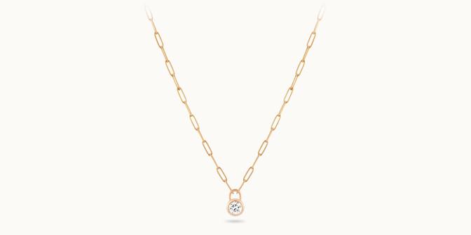 Collier Pont des Arts or rose 18K - diamant synthétique français - Courbet - Courbet