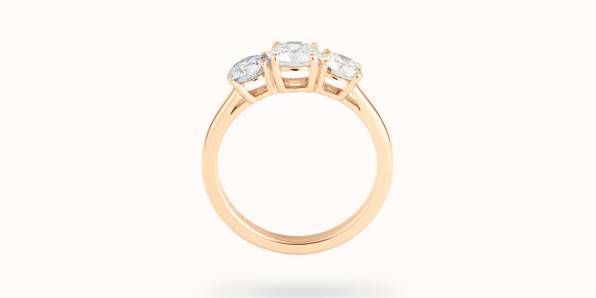 Bague solitaire Trio - Or jaune 18K (4,30 g), 3 diamants 1,45 cts - Profil