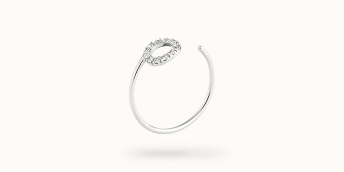 Bague O2 - Or blanc 18K (0,90 g), diamants 0,10 ct - Côté