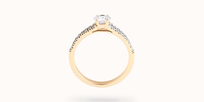 Bague fiançailles Infinity - Or jaune 18K (3,50 g), diamants 0,75 ct - Profil - Courbet