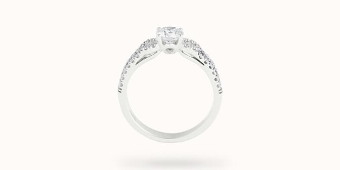 Bague fiançailles Infinity - Or blanc 18K (4,00 g), diamants 1,05 cts - Profil - Courbet