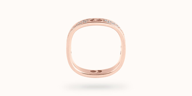 Bague Eclipse petit modèle - Or rose 18K (4,20 g), diamants 0,55 ct - Profil