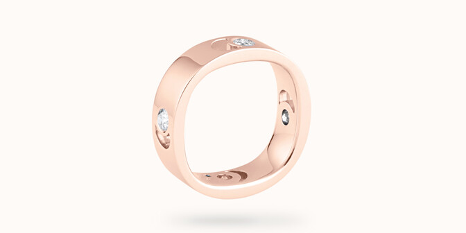 Bague Eclipse grand modèle - Or rose 18K (7,80 g), 4 diamants 0,40 ct - Côté - Courbet