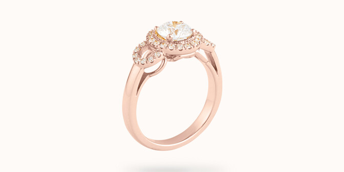 Bague fiançailles Halo - Or rose 18K (6,00 g), diamants 1,25 cts - Côté