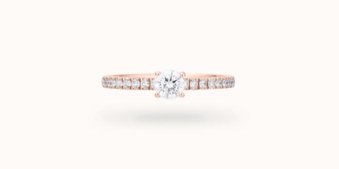 Bague solitaire quatre griffes - Or rose 18K (2,20 g), diamants 0,10 ct - Courbet