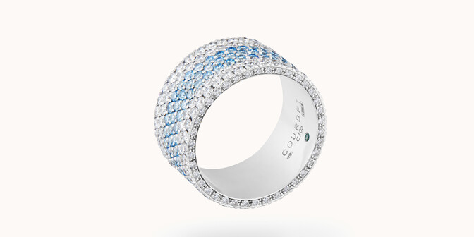 Bague Horizon en or blanc - Orb blanc - diamants de pavage 4,37 carats - Coté - Courbet