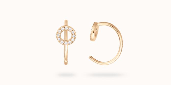 Boucles d'oreilles -Or jaune 18K (1,20 g), diamants 0,12 cts