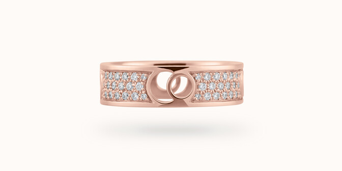 Bague Eclipse grand modèle - Or rose 18K (7,80 g), diamants 0,70 ct - Face - Courbet