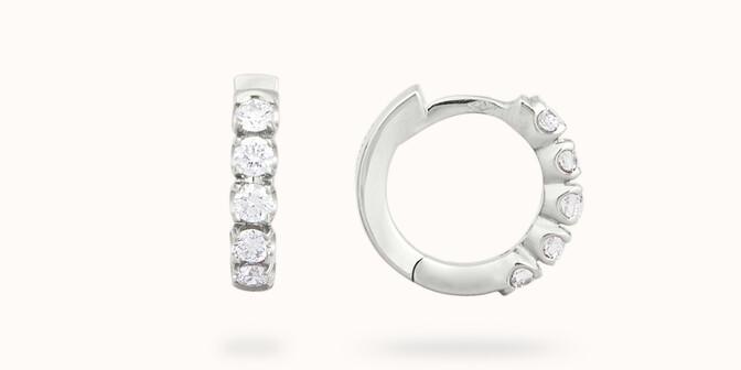Créoles - Or blanc 18K (3,20 g), diamants 0,5 cts