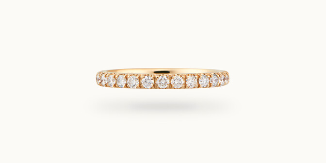 Alliance demi-pavée (2,3 mm) - Or jaune 18K (2,90 g), diamants 0,40 ct - Courbet
