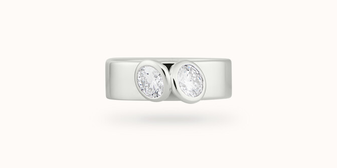 Bague 2 Courbet - Or blanc 18K (7,00g), 2 diamants 1ct - Face - Courbet