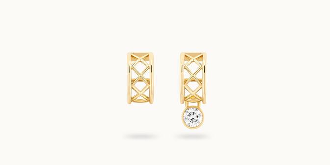 Boucles d'oreilles Pont des Arts - Or jaune 18K (5,80 g), diamant synthétique - Face - Courbet