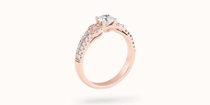 Bague fiançailles Infinity - Or rose 18K (3,90 g), diamants 0,70 ct - Côté